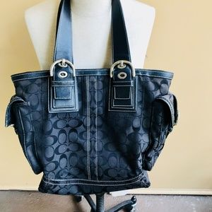 AUTHENTIC Coach SOHO Blac Leather MONOGRAMMED Tote